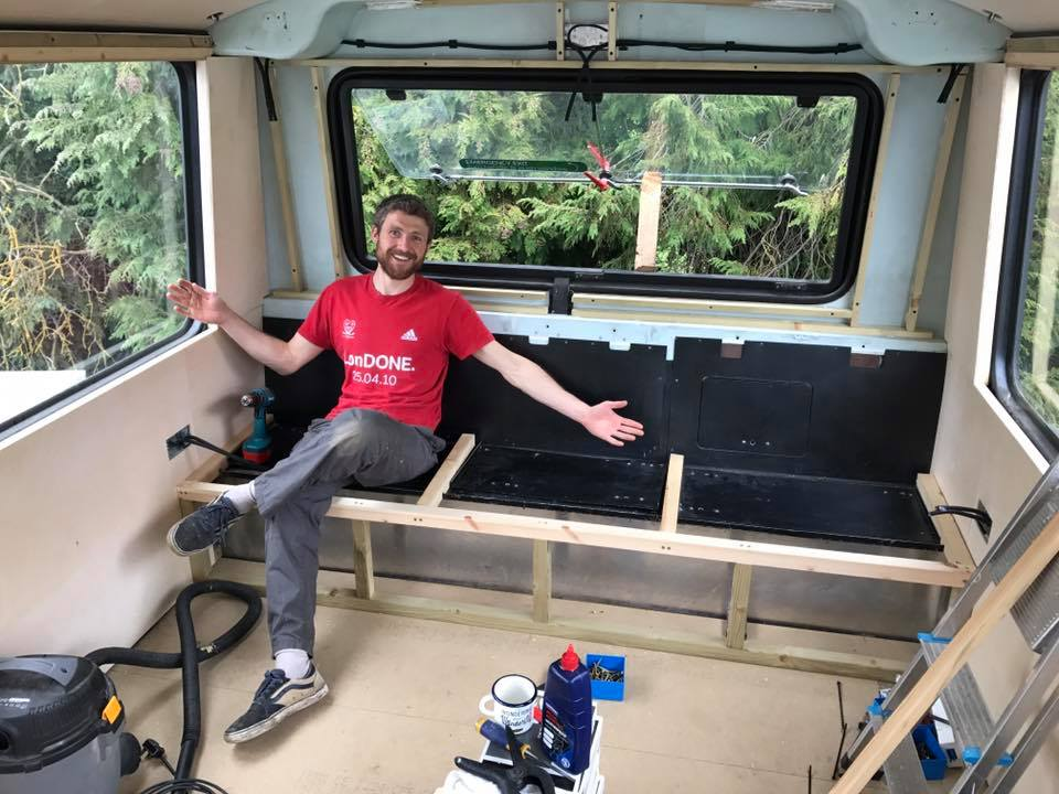 15. Coming together - As 2016 turned into 2017 Chris continued working on the bus and as Spring arrived the exciting stuff began to happen. Insulation was covered with cladding. A wood burning stove with two-storey flue became a familiar fixture in the middle of the bus. The upstairs ceiling went on. Seating was completed. Power sockets installed and a thousand other small tasks which only Chris will ever know about, but were integral to the successful future of the YesBus.