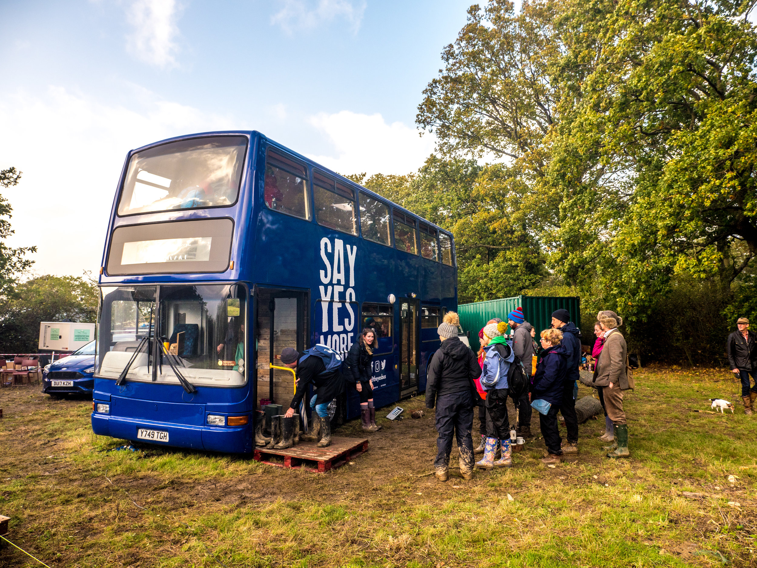 18. Yestival - Yestival was a chance to introduce people to the bus, hold a couple of talks and start to work out just how we manage groups on board. Storm Brian's rain and 50mph winds meant a no-shoe policy was introduced from the off, and it was simply awesome to see people's faces when they saw Bussy for the first time.