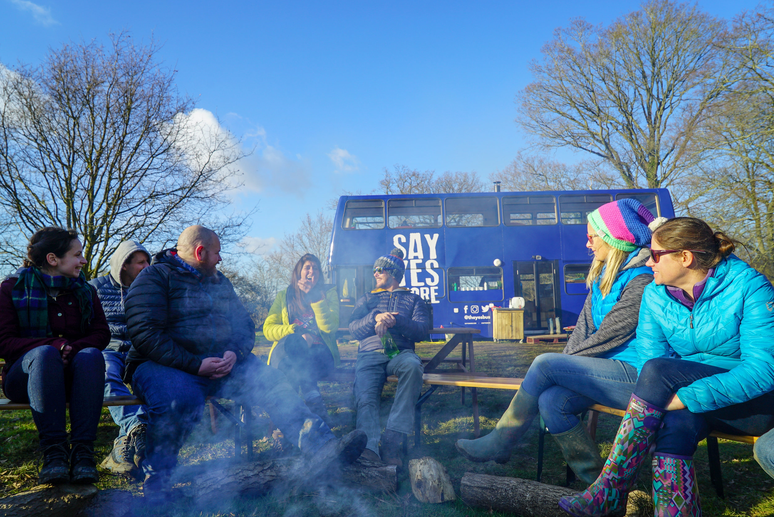 23. Together - We've never had an HQ to bring people to together at/in before, so as Winter pretended to end we brought together the 25 or so volunteers that help turn the SayYesMore and YesTribe cogs and enjoyed a weekend at the bus. Plenty of little jobs were done and the firepit saw some good action. All the while, a soggy winter meant that the whole sit was still muddy as could be. Something needed to be done...