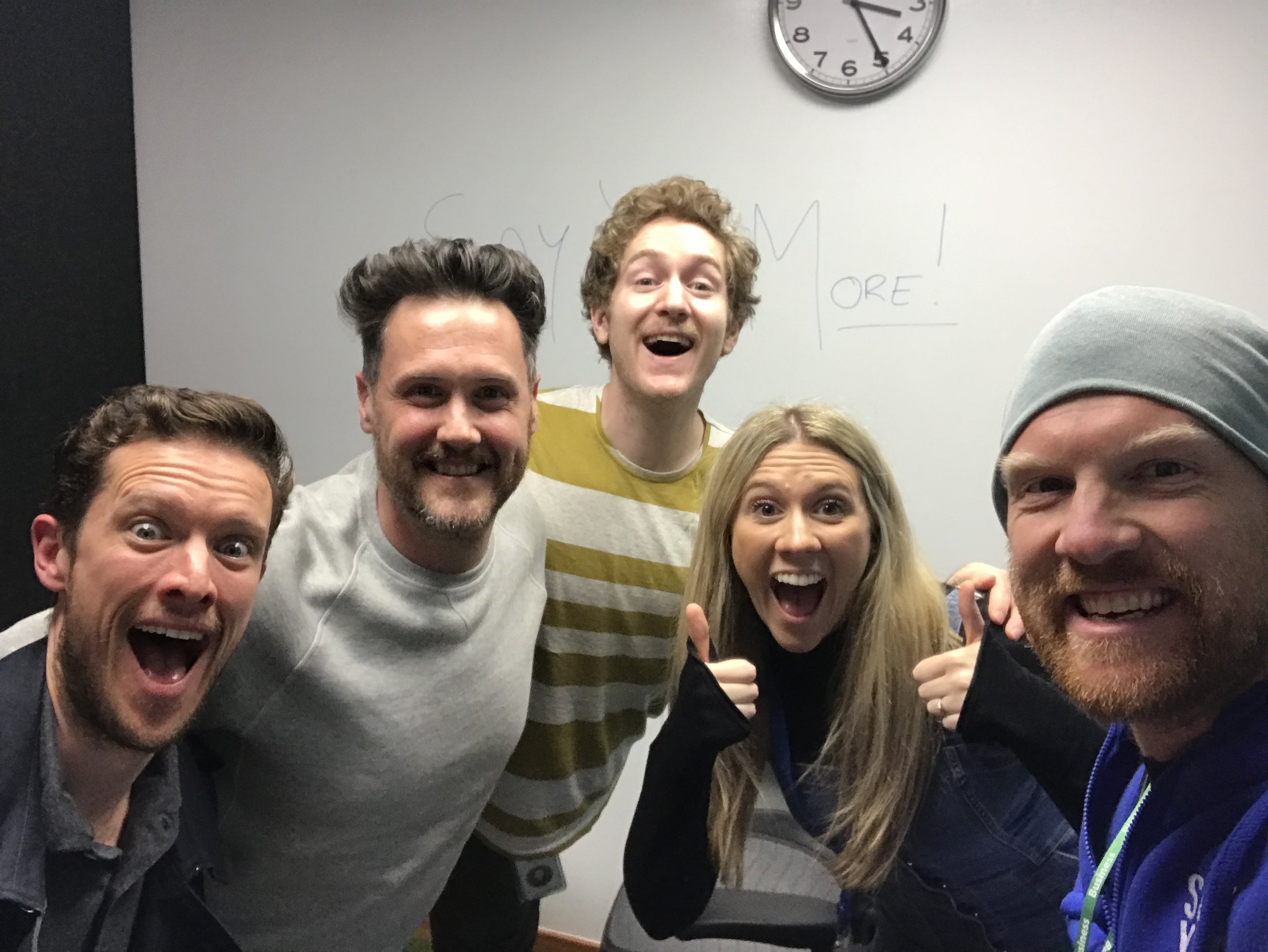 DC (right) with Phil, James, Sammy and Liv at Facebook HQ in London, after a planning session for the Wake Up Wild campaign. Sammy spent the whole session drawing on the walls!