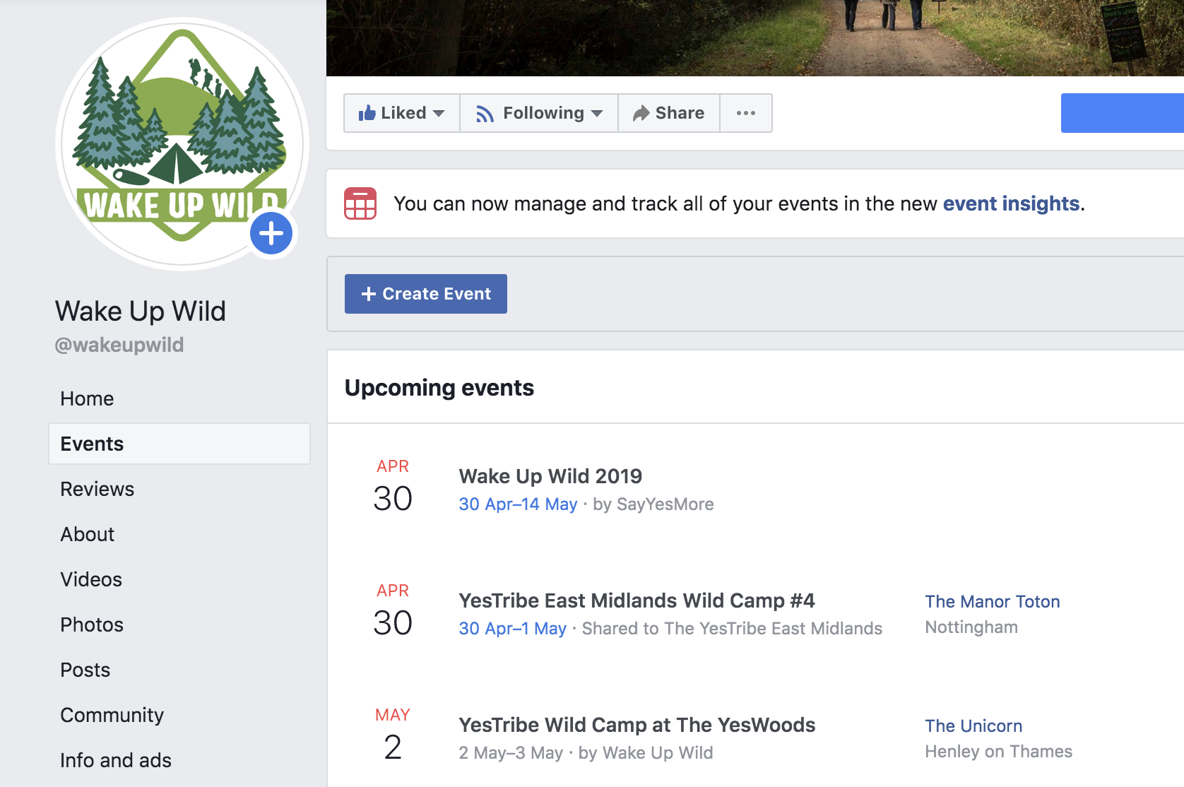 Setting up an event on Facebook