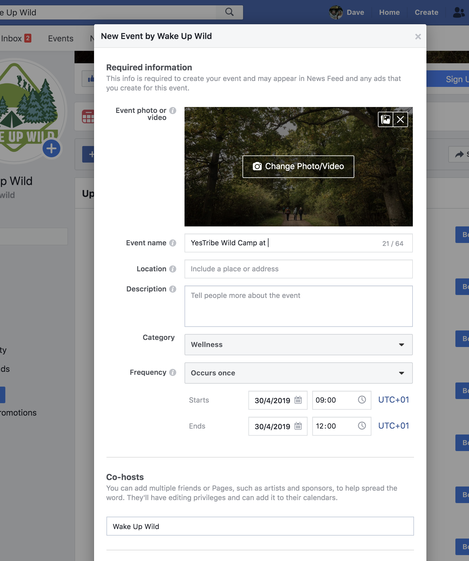 The key details to enter into a Facebook event