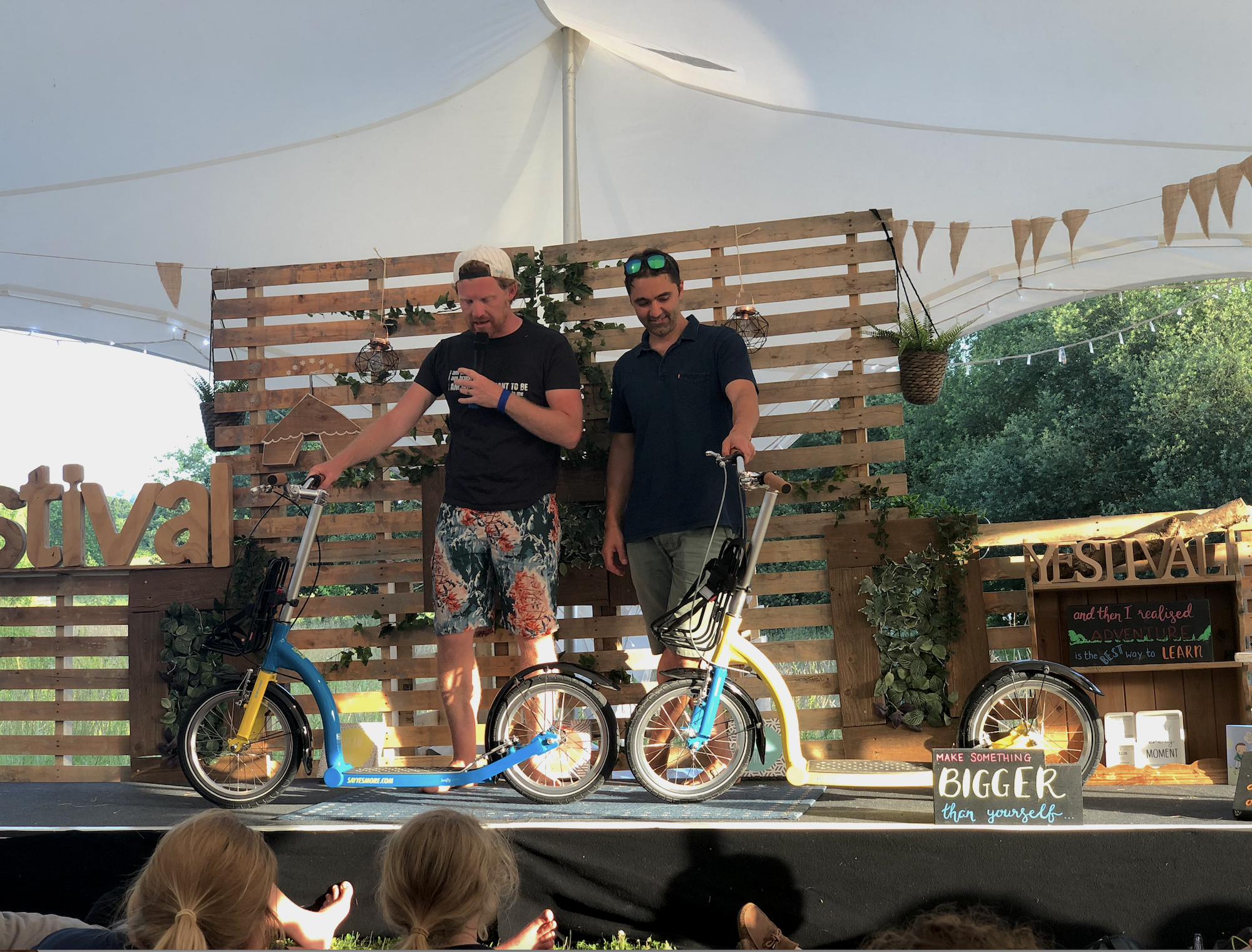 Jason Iftakhar of Swifty Scooters with Dave C at Camp Yestival, with Tortoise and Hare!