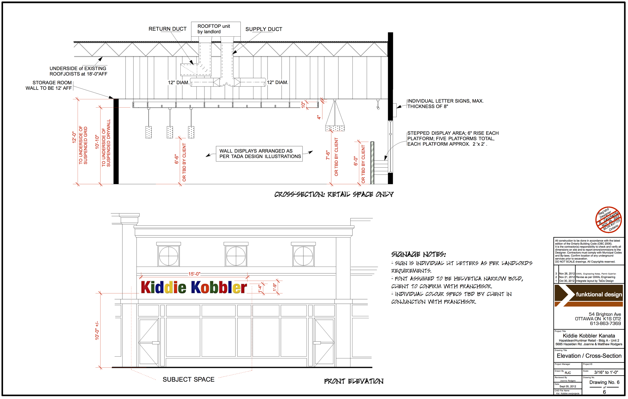 CROSS SECTION and SIGNAGE DRAWING