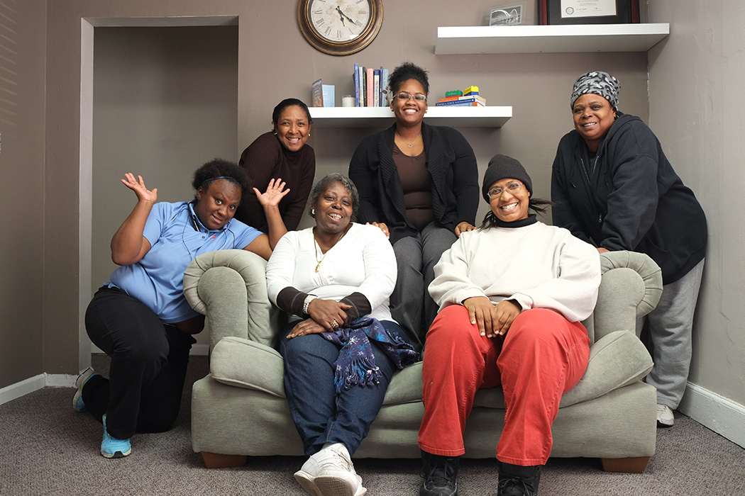 A SnAP Women's Therapy Class with Program Manager Sylvia Goodloe, LMSW pictured top center.