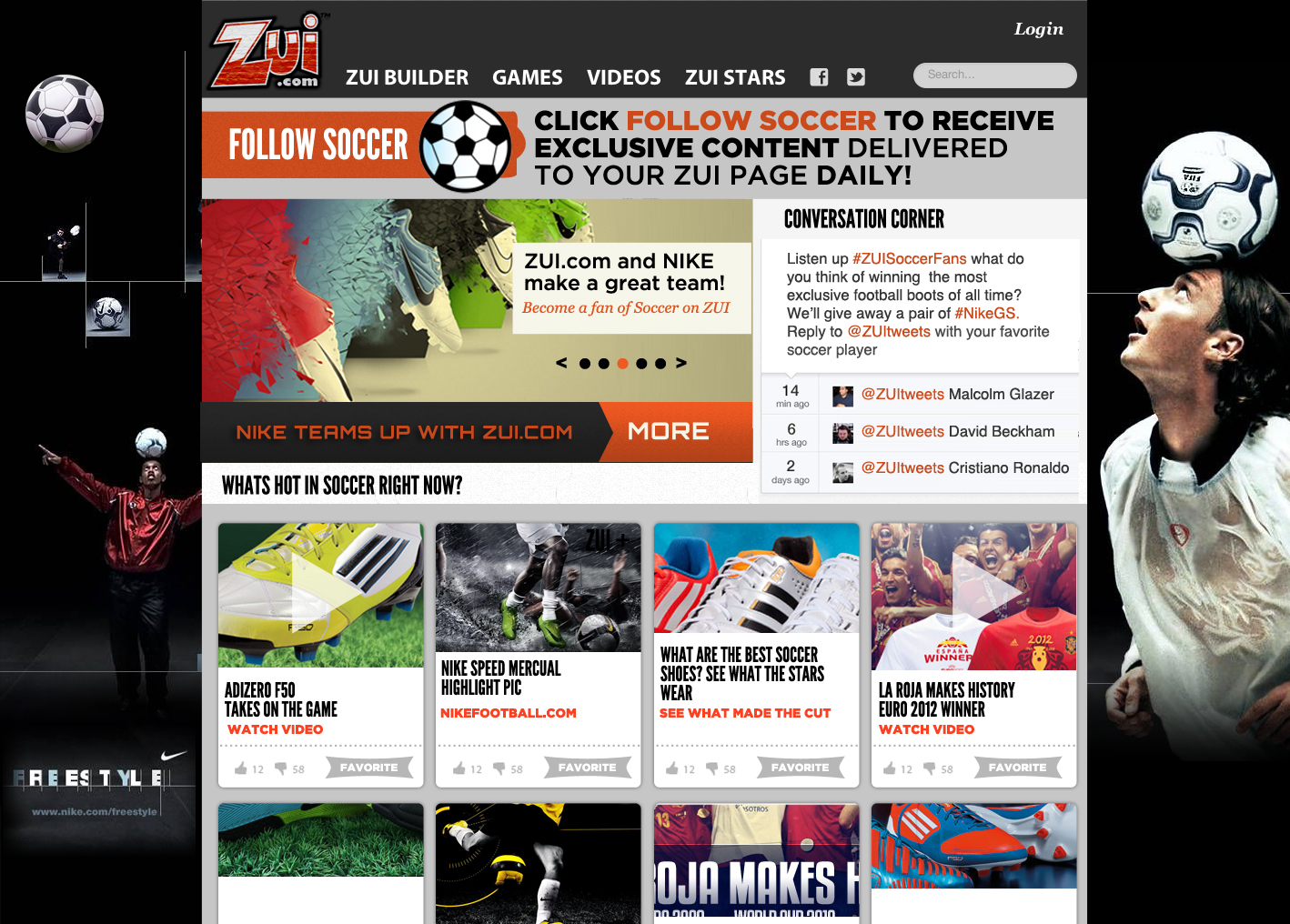 ZUI + Nike Soccer Interest Page