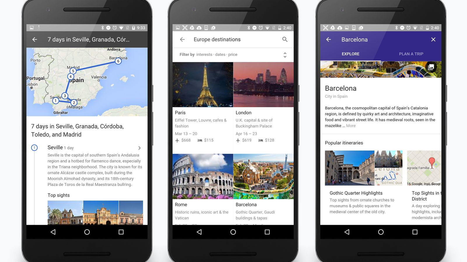 Google's Travel Destinations Search Image from theverve.com