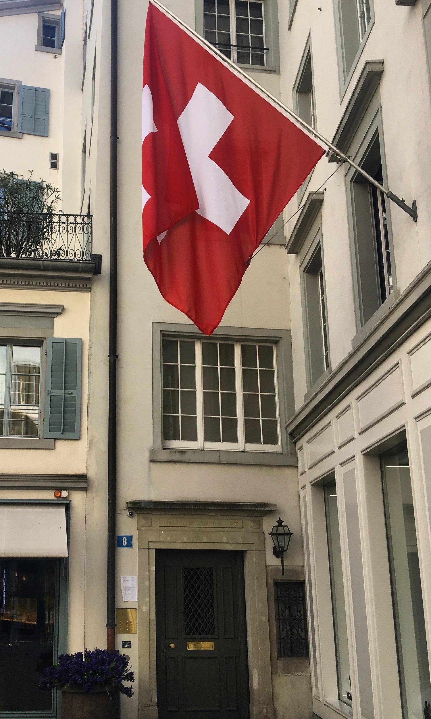 Swiss flag city center