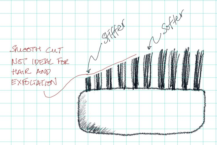 Trimmed bristles was the obvious idea, but not very workable as it defeated the purpose of boar bristles.