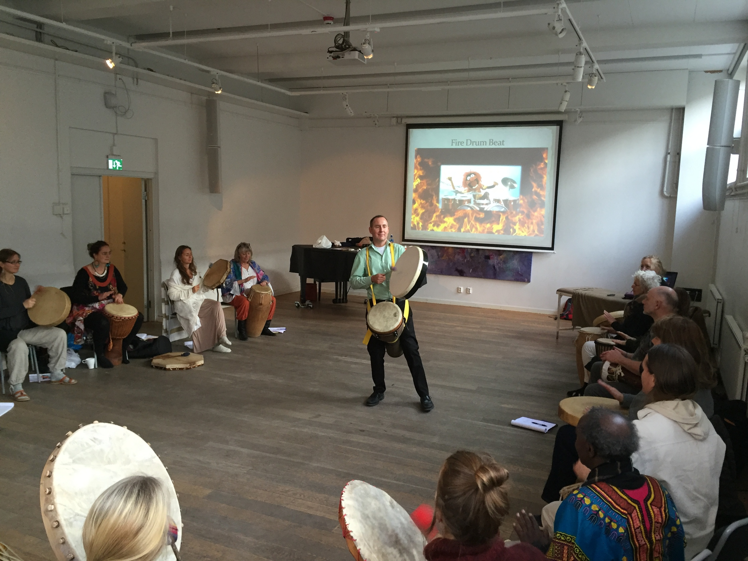 Teaching Chinese Medical Shamanic Drumming in Stockholm, Sweden, November 2015.