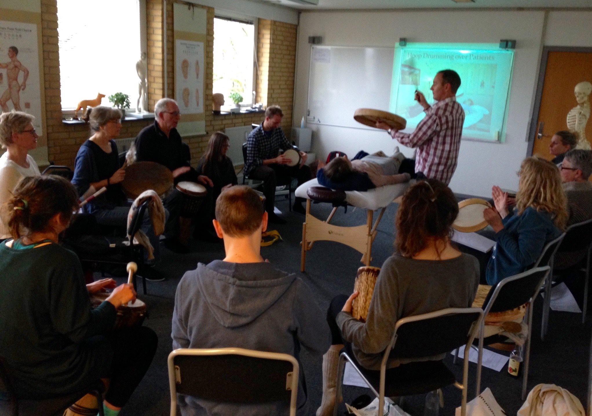 Teaching Chinese Medicine Shamanic Drumming in Aarhus, Denmark 2016.