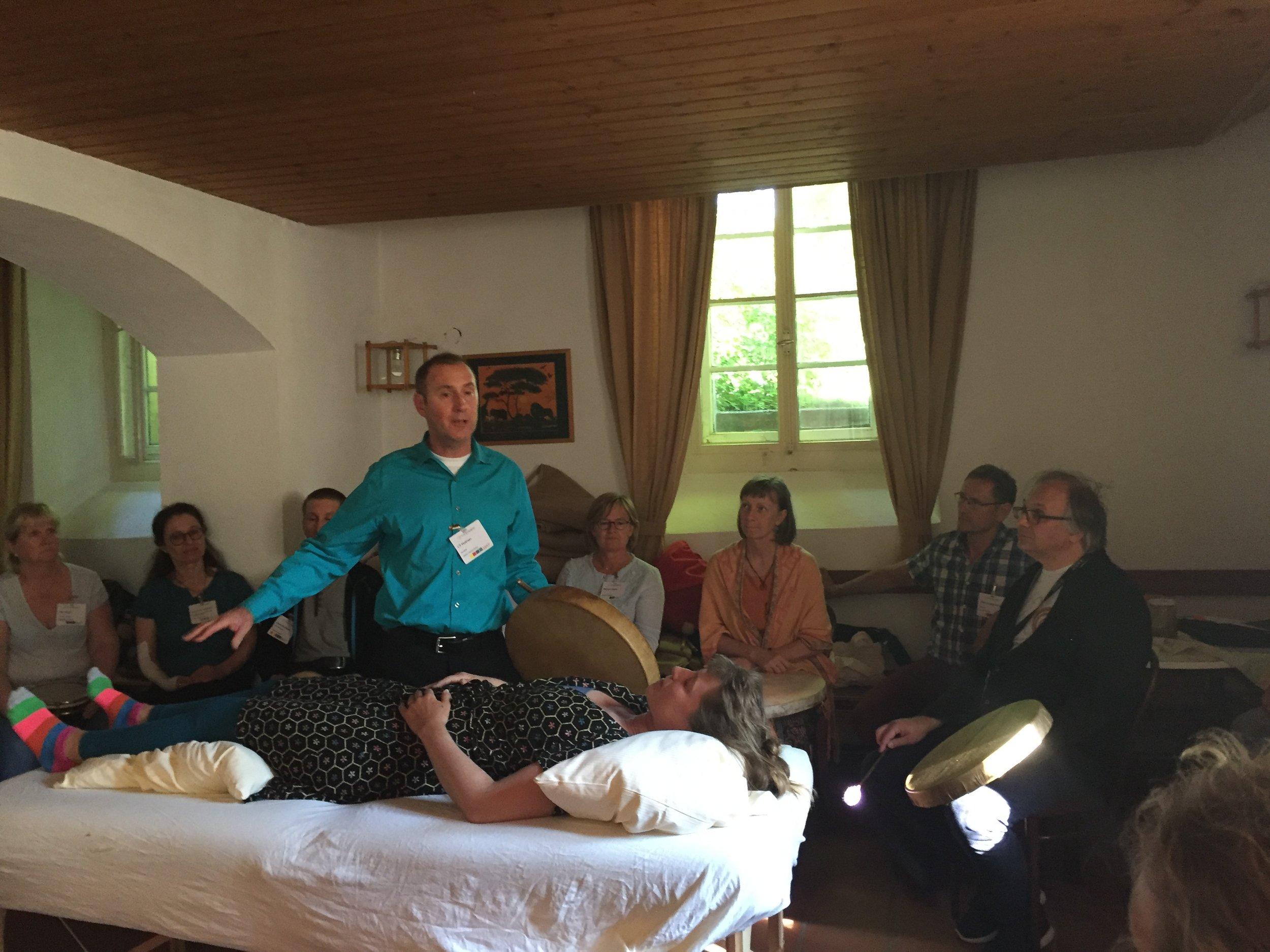 Teaching Chinese medicine drum healing at the 2017 TCM Kongress in Rothenburg, Germany.