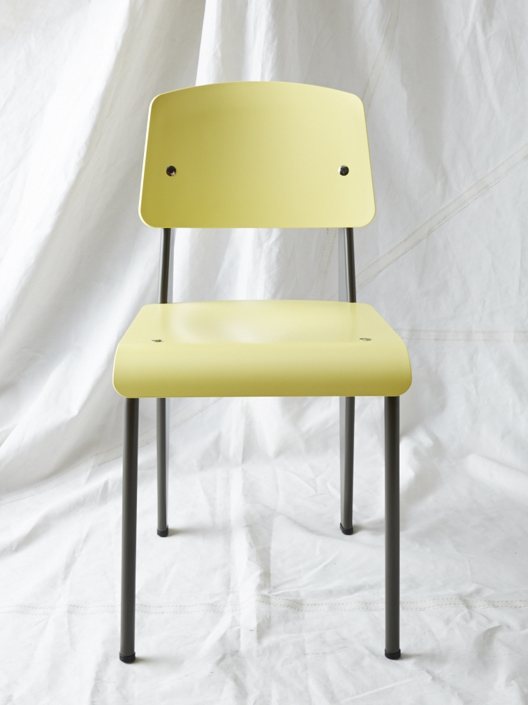 "CH010  Prouvé SP chair yellow/warm grey 32"" H x 16"" W x 19"" D  $200/week"