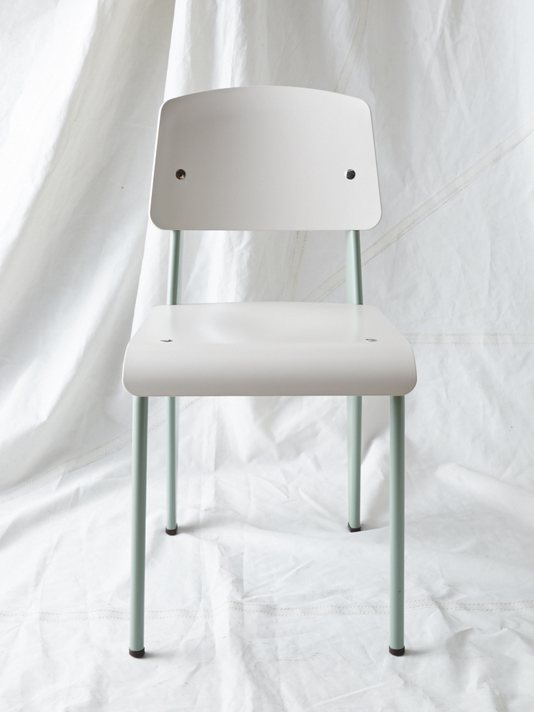 "CH011  Prouvé SP chair light gray/teal 32"" H x 16"" W x 19"" D  $200/week"