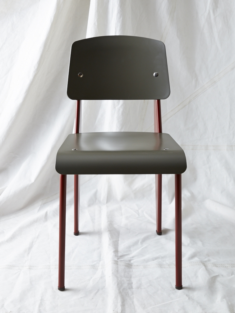 "CH012  Prouvé SP chair black/maroon 32"" H x 16"" W x 19"" D  $200/week"