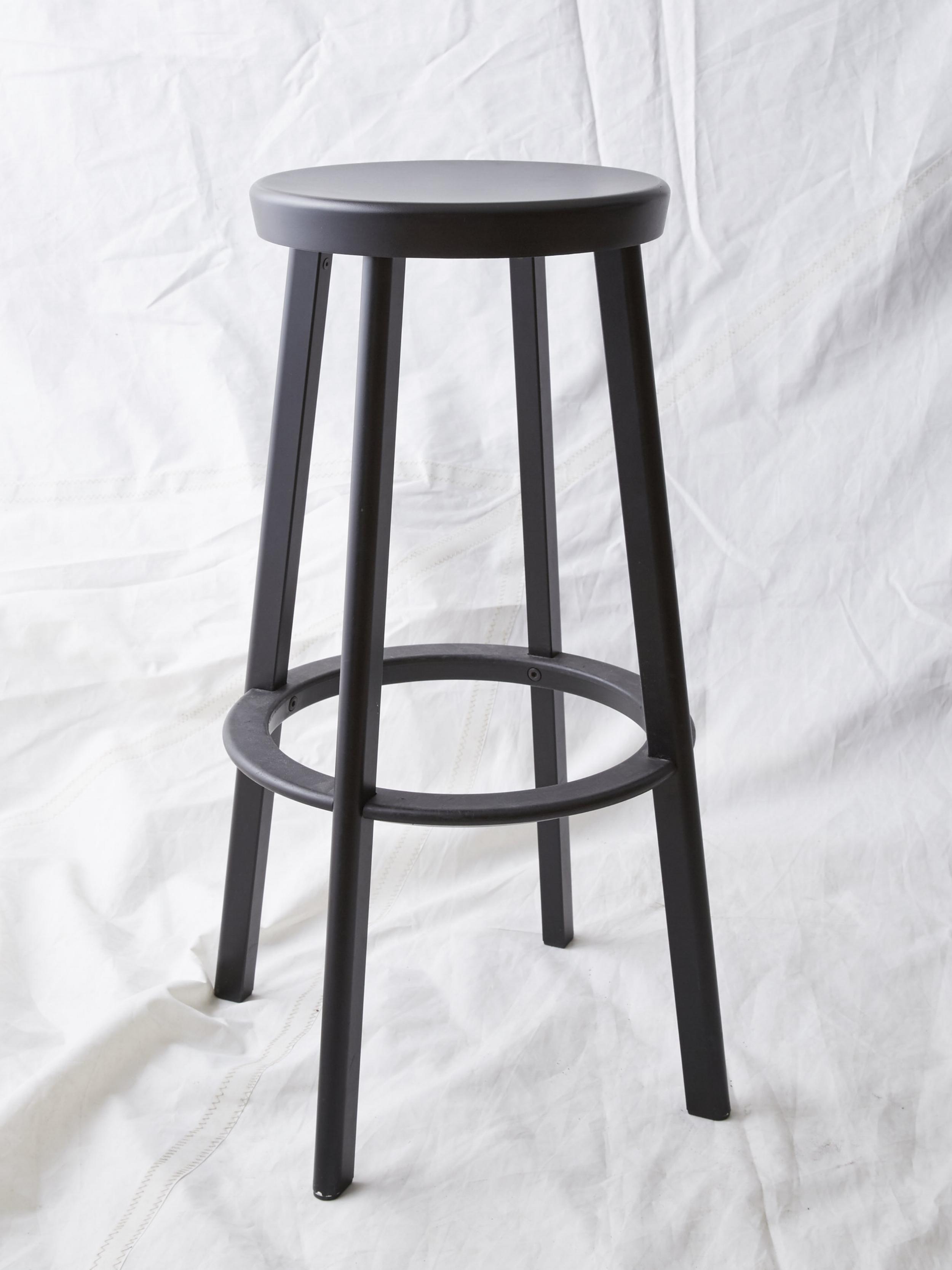 "ST027  DEJA-VU BLACK ALUMINUM STOOL BY NAOTO FUKASAWA 13"" DIA x 30"" H  $125/week"