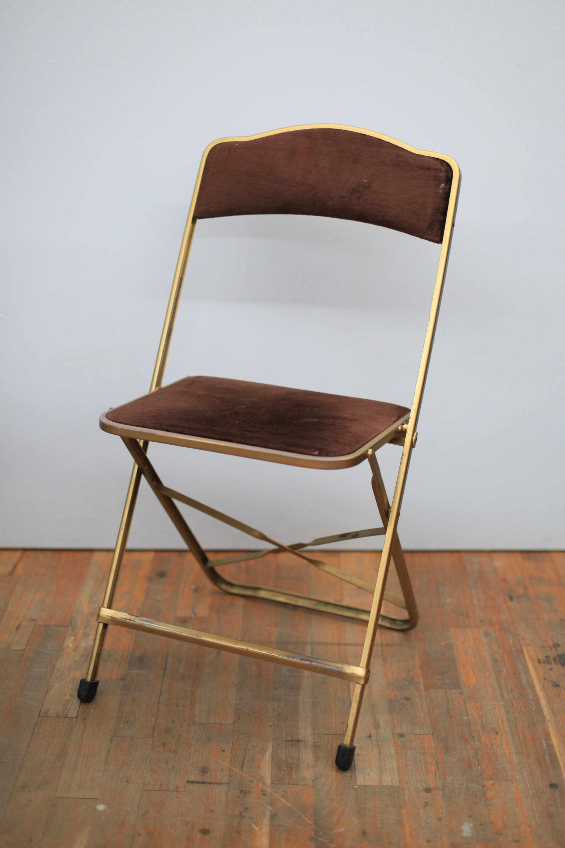 CH129  BROWN VELVET & GOLD FOLDING CHAIR  $60