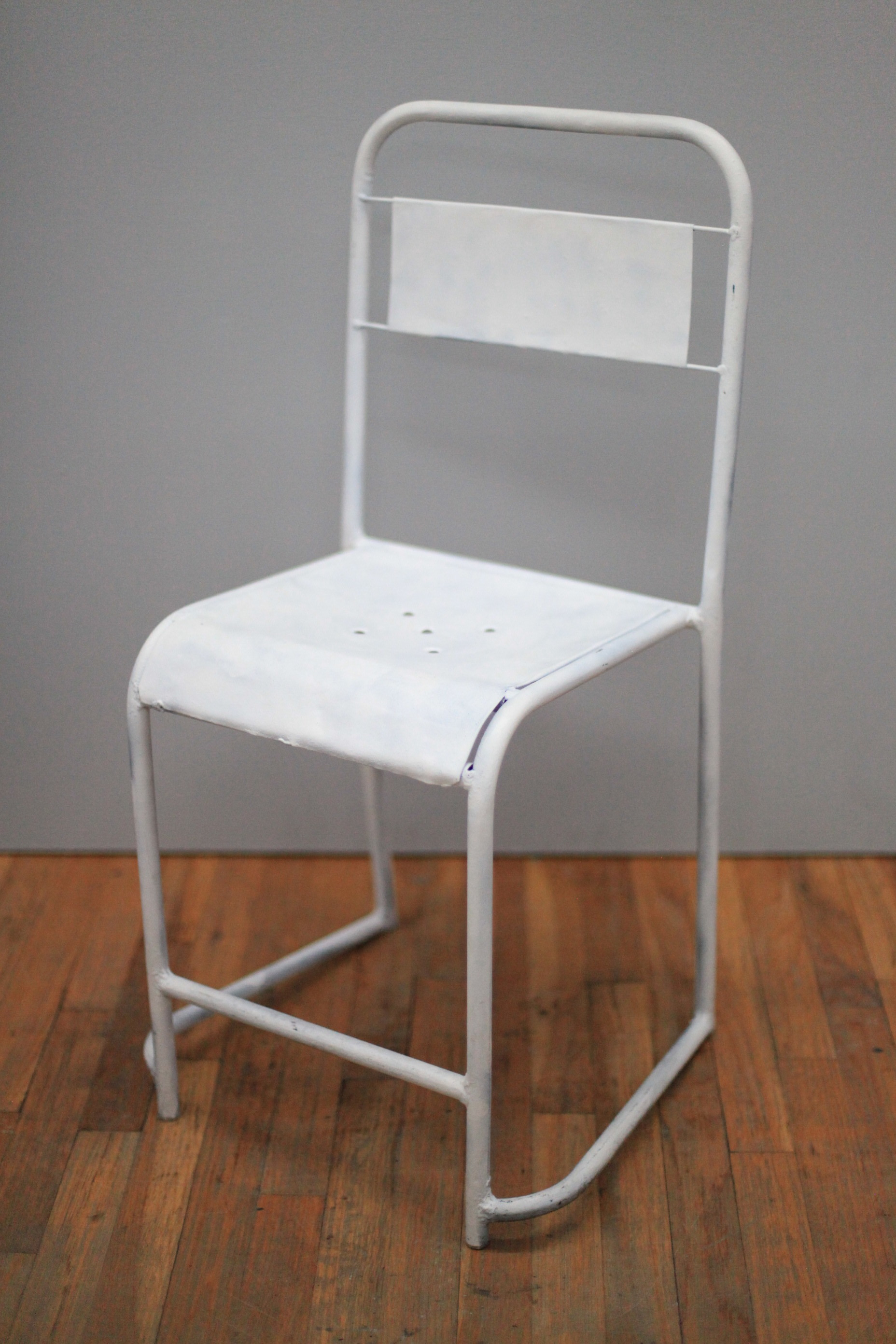 "CH038  Matte white painted steel 33"" H x 14"" W x 16"" D  $75/week"