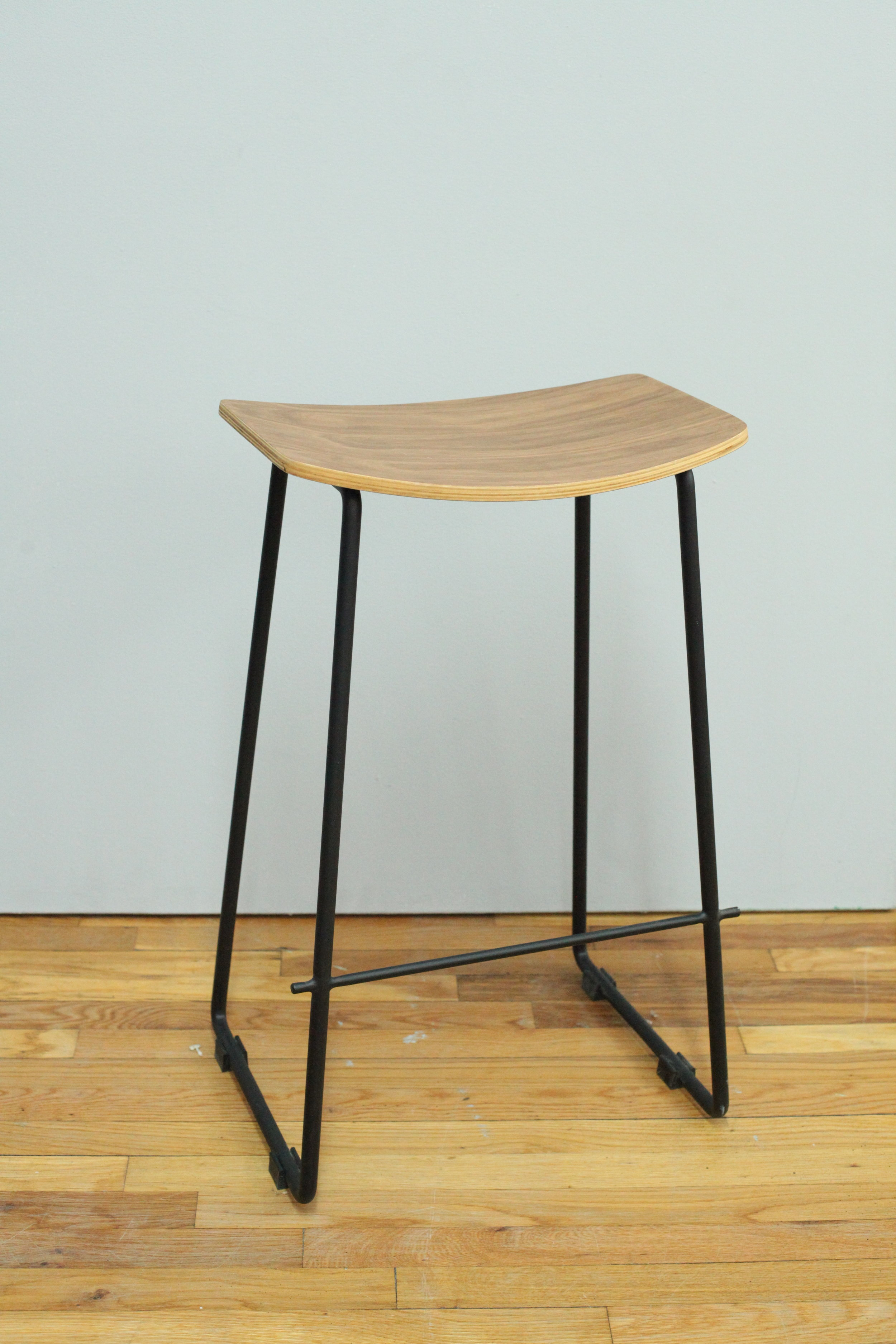 Rectangular wood + black steel stool  $150