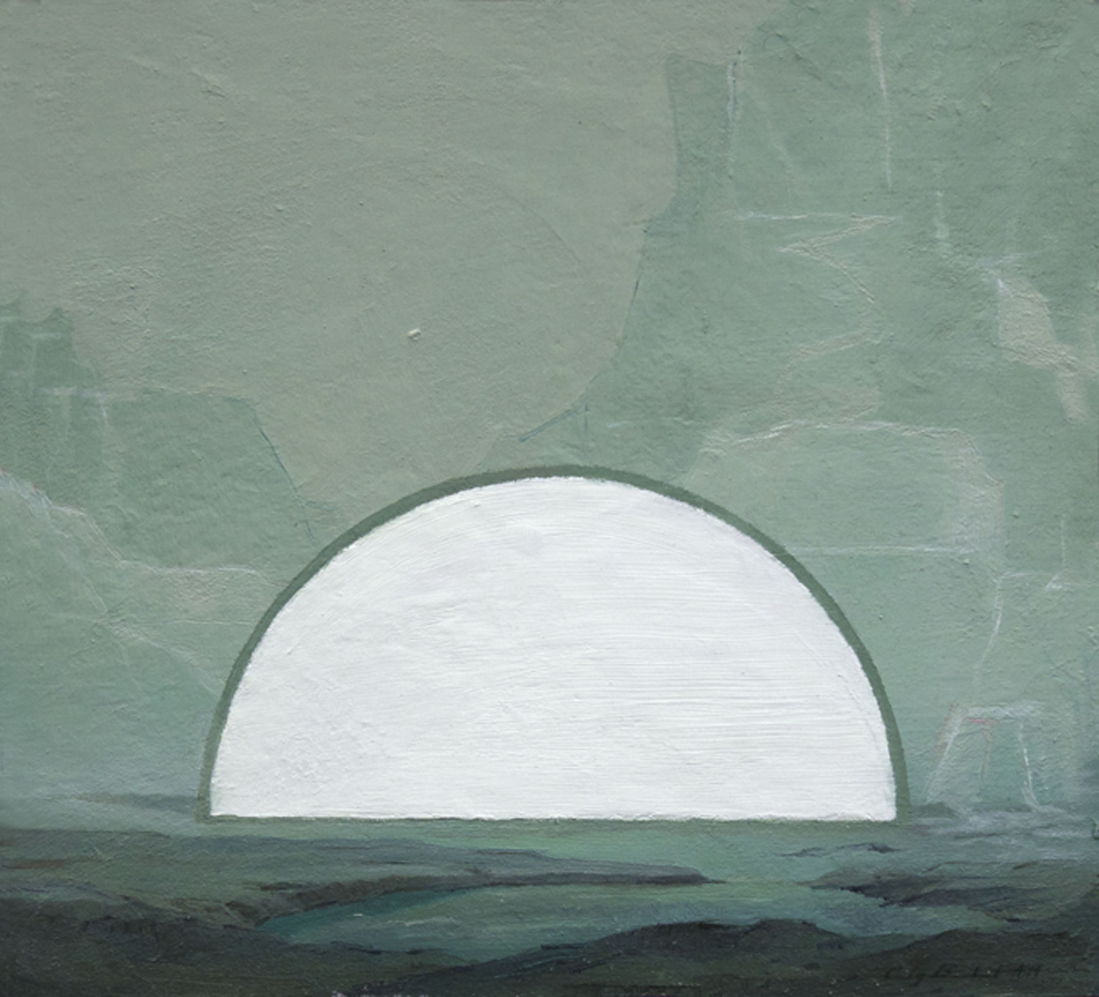 """""""White Moon,"""" 2014, oil on paper, 10x9 in."""