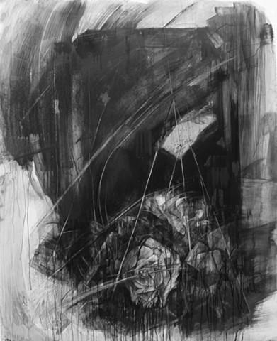 """Graveyard"", 2013, charcoal on mylar, 52x42 in."