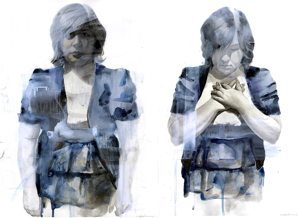 """""""Sarah Diptych"""", 2011, watercolor on paper and acetate, 24x36 in."""