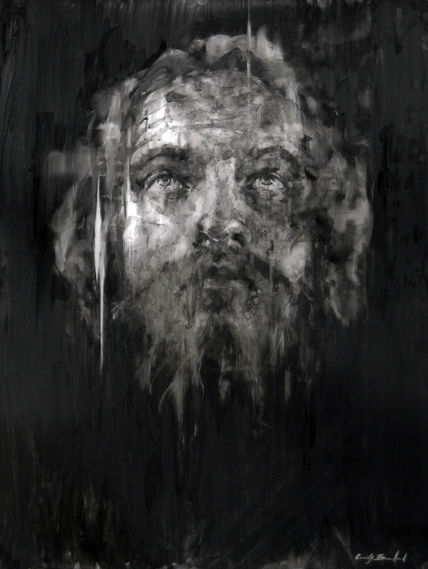 """""""Stephen"""", 2012, charcoal on mylar, 24x18 in."""