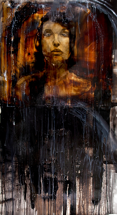 """""""The Drowning"""", 2010,tar, gasoline, charcoal, watercolor on paper and acetate, 57.5x32 in."""