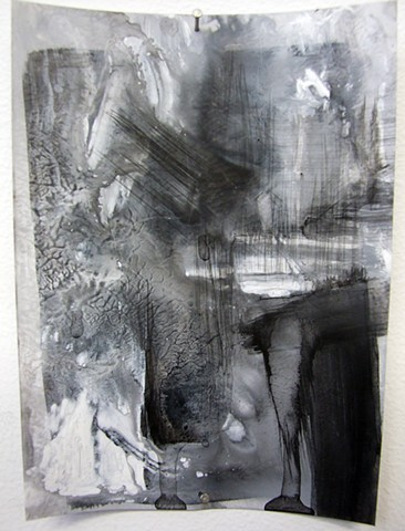 """""""Ab 4,"""" 2012,charcoal and gesso on mylar"""