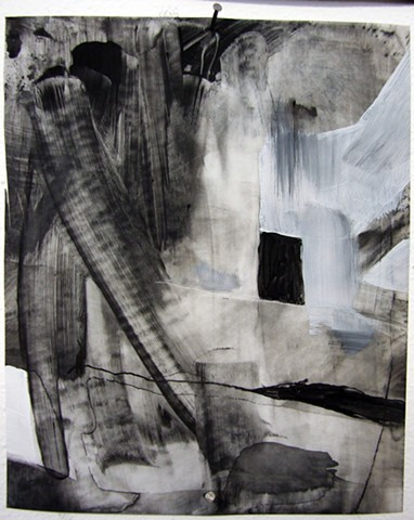 """""""Ab 5,"""" 2012,charcoal and gesso on mylar"""