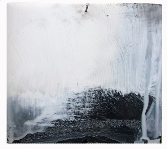 """""""Baptism,"""" 2012,charcoal and gesso on mylar"""