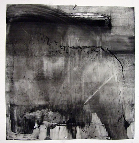 """""""Purgatory,"""" 2012,charcoal and gesso on mylar"""