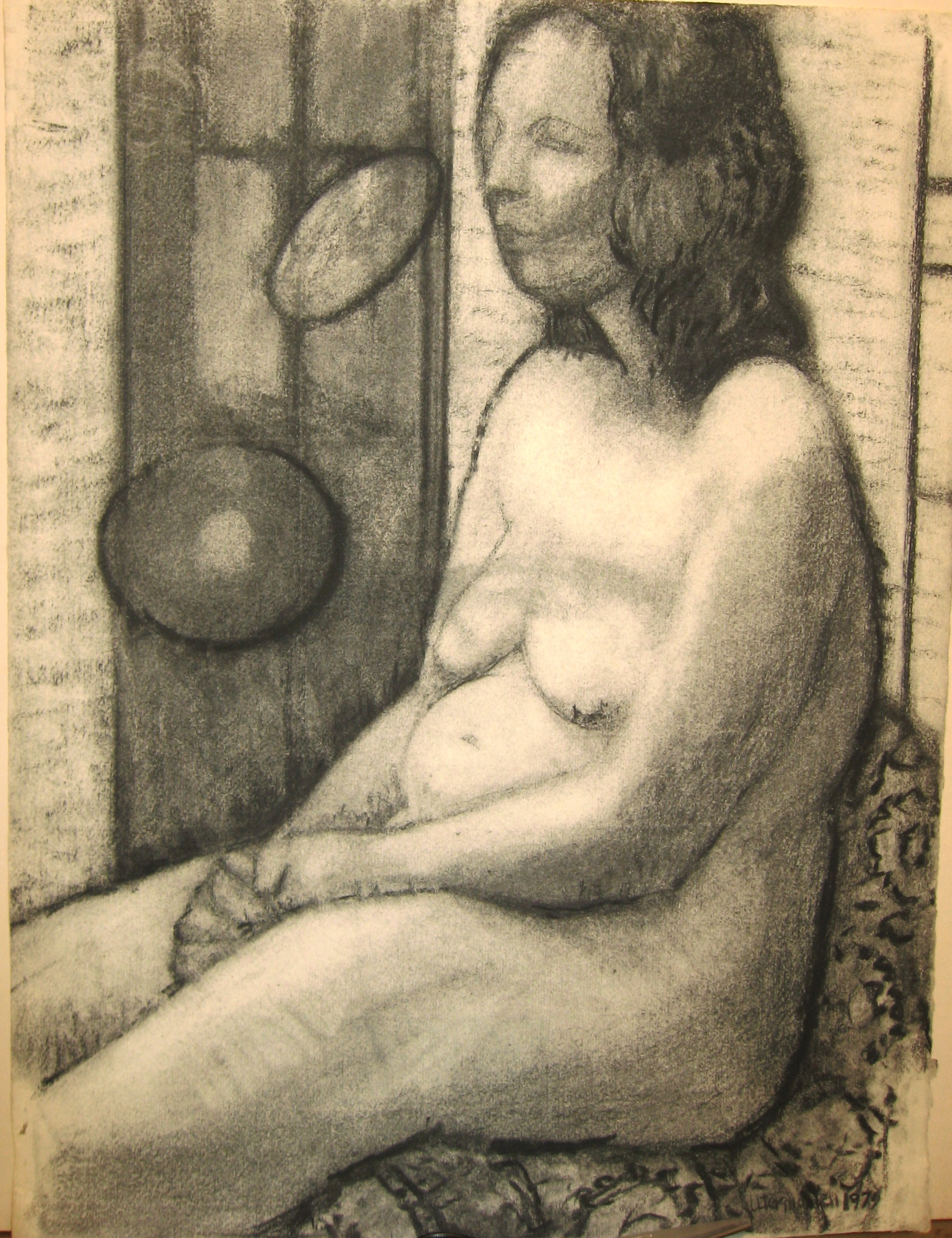 """Plump Model,"" 1979, charcoal, 20x15.5 in."