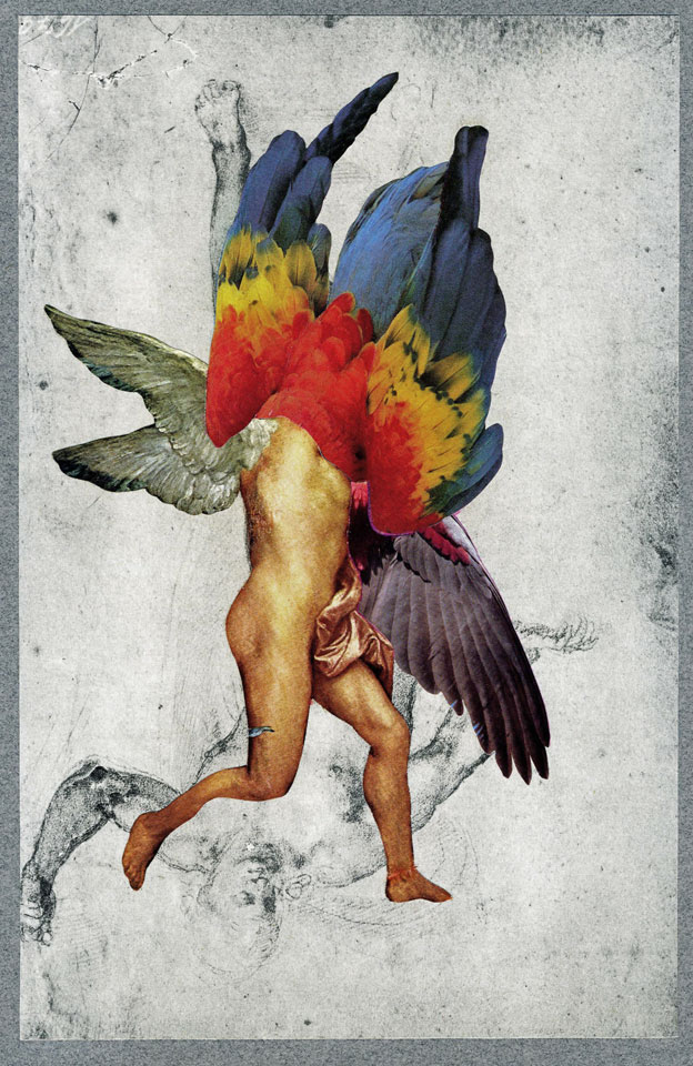"""Icarus,"" 2013, collage on paper, 16x12 in."