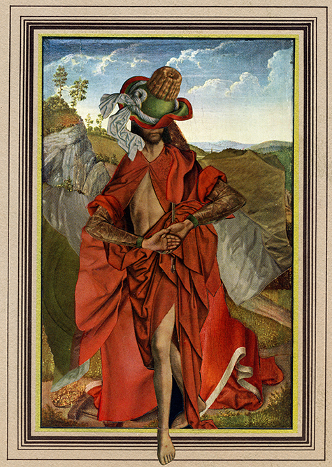 """Oscar de la Pasture,"" 2014, collage on paper, 9.5x6.5 in."