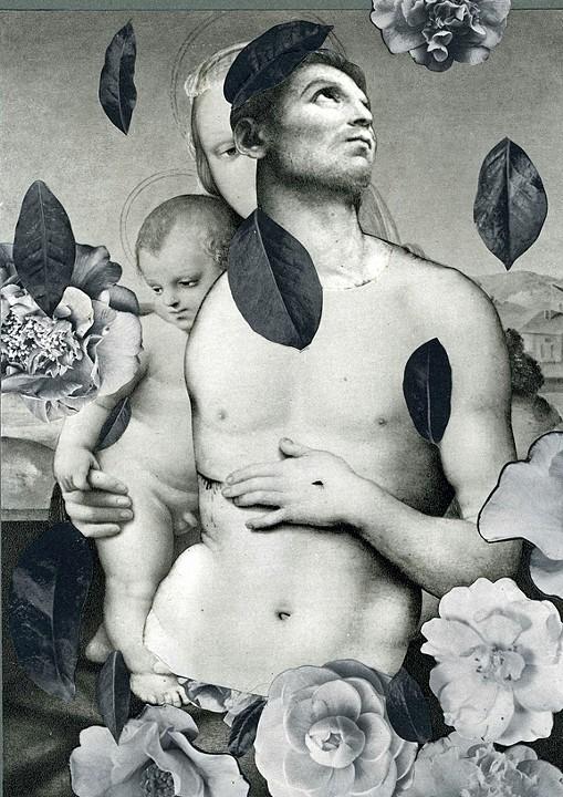 """""""La Familia Camillia,"""" 2013, collage on paper, 9x6.5 in."""