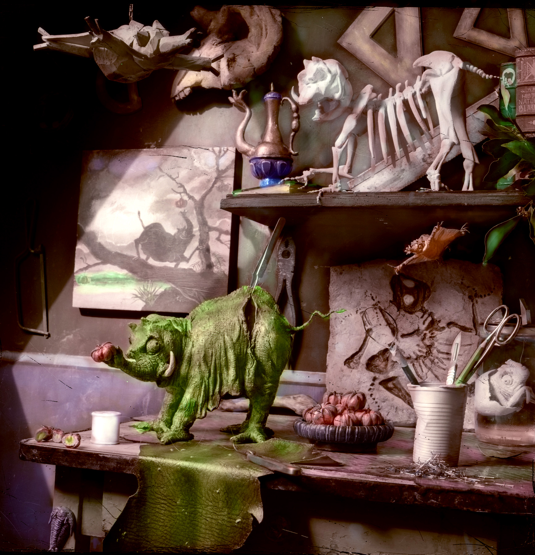 """""""The Taxidermists Table,"""" 2001, c-print, 18x18 in."""
