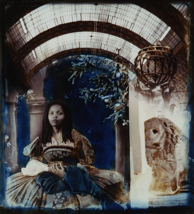 """Lady Waiting,"" 1995, c-print,21.5x17.75 in."