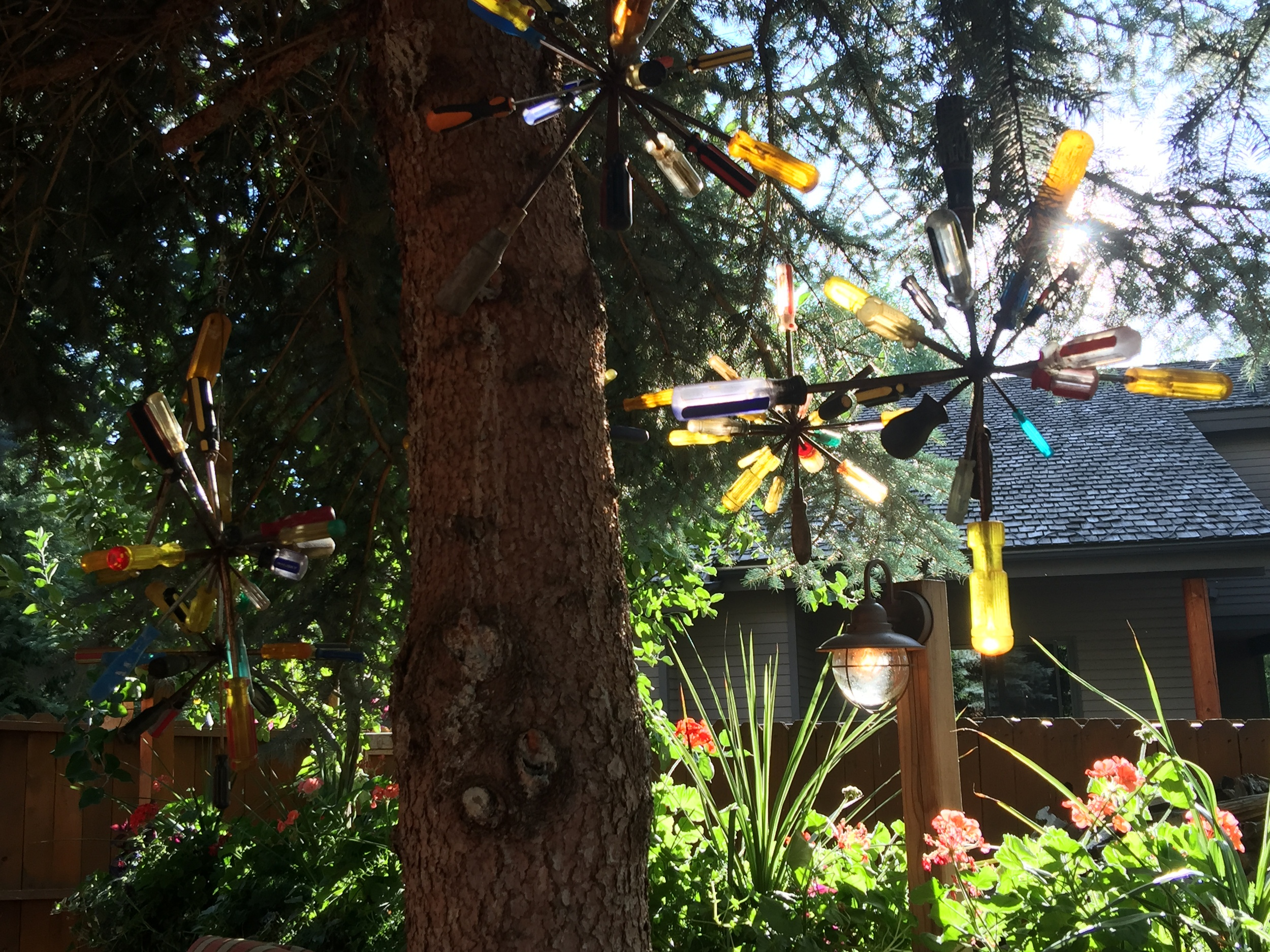 Art in the garden made from recycled materials