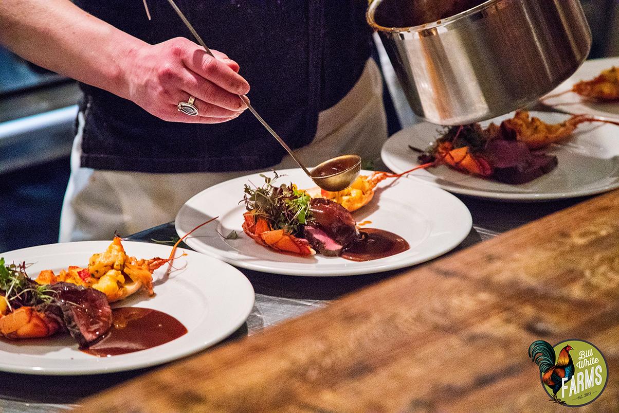 The main entrée: buffalo tenderloin with lobster