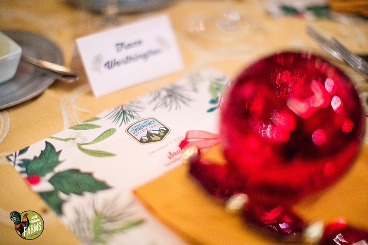 The dinner table arrangement.