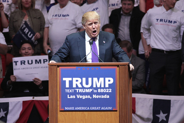Credit: Gage Skidmore, Flickr. Donald Trump speaking with supporters at a campaign rally at the South Point Arena in Las Vegas, Nevada.