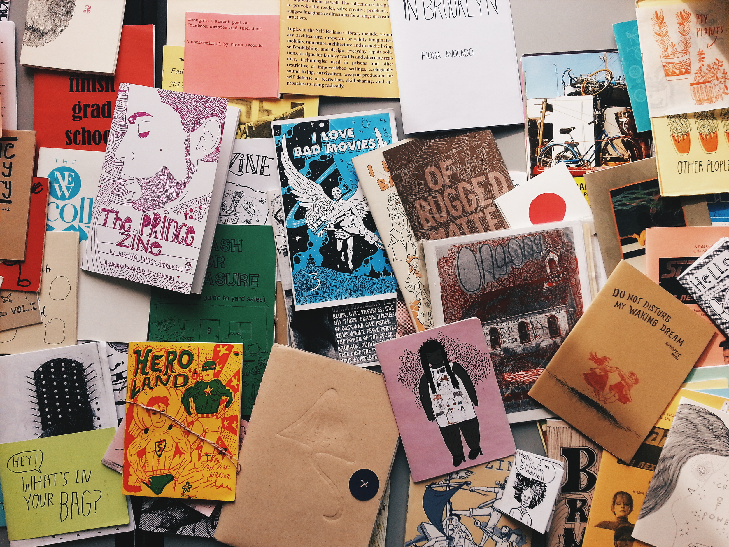 ABOVE:   I always pack a huge suitcase filled with other people's zines to share at my workshops.