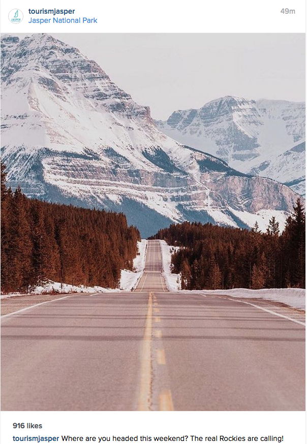 Image of Jasper National Park from the Jasper Tourism Instagram page.