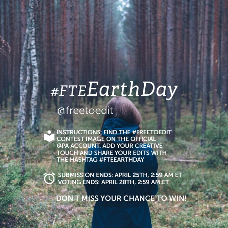 Using PicsArt to promote Earth Day, and the 'free to edit' theme. Image from the PicsArt website.