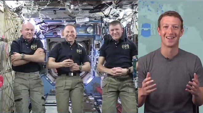 Zuckerberg demonstrating Facebook Live with a chat with three astronauts live at the International Space Station. Image from Mark Zuckerbergs Facebook page (available at:facebook.com/zuck/videos/10102866910495181/).