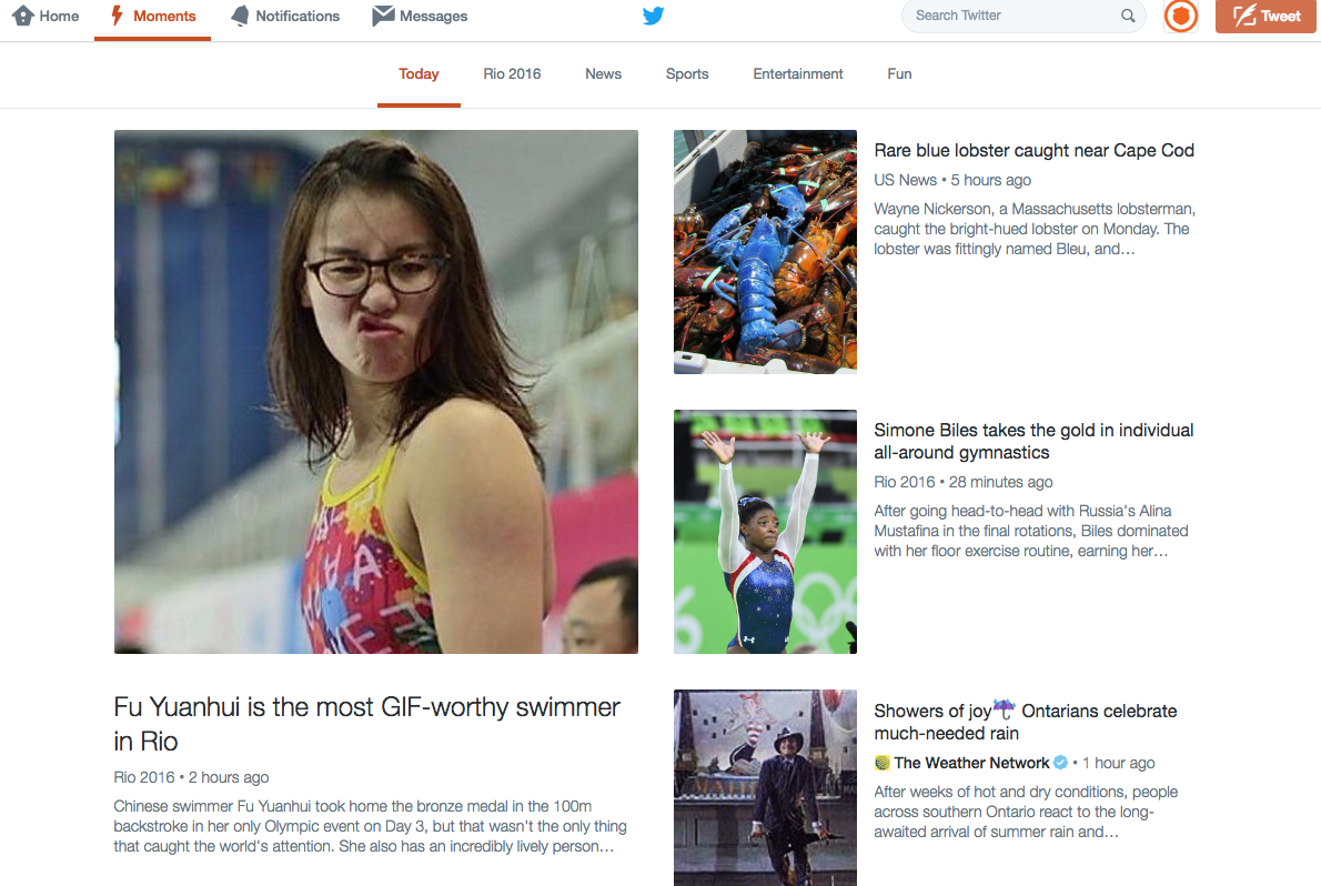 """A typical Twitter Moments feed. Found under the """"Moments"""" tab, the feed will show you current trending stories and news in several topic areas. Image from Twitter.com."""