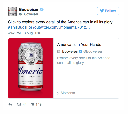 Twitter Moments curated by Budweiser showcasing the evolution of it's beer can design. Image from Twitter.com.