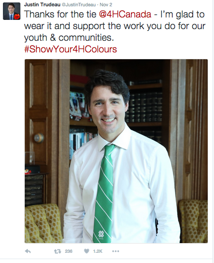 Trudeau promotes causes on his Twitter account. Image from Twitter at @JustinTrudeau.