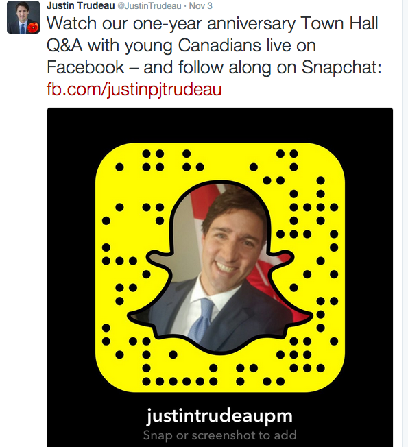 Justin even uses  Snapchat . Image from Twitter at @JustinTrudeau.